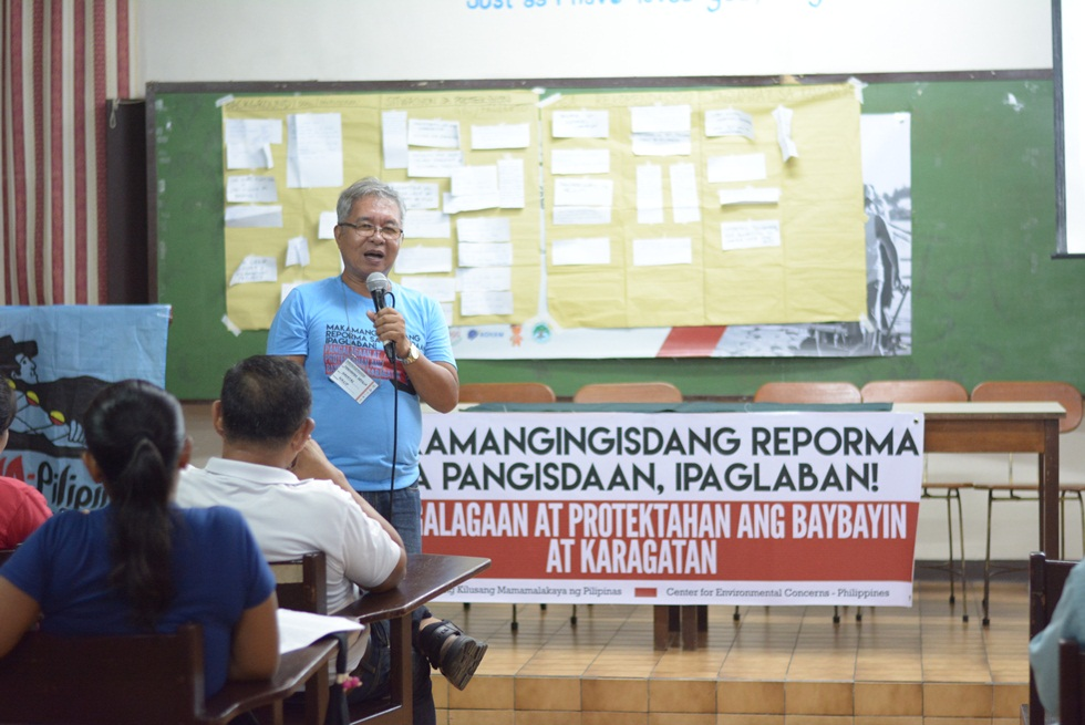 A fisherman from Navotas presenting the resolutions and proposals they made during a workshop together with other fisherfolks from different regions. Photo by Naj Gamora/cecphilippines.org