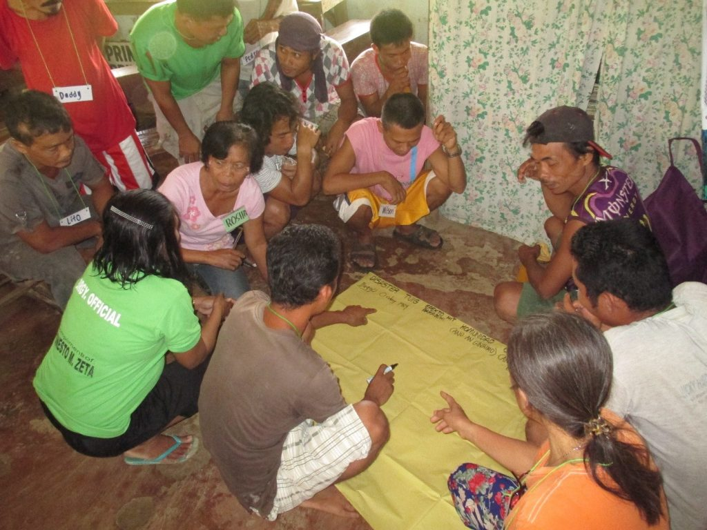 In a workshop, members of Aguimit Small Farmers' Assocation of Brgy. Inuntan, Basey grouped themselves to reminisce the different disasters they faced throughout the years