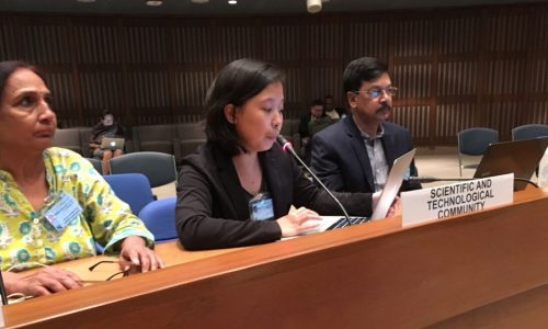 Ms. April Porteria of CEC giving an intervention at the 2nd Asia Pacific Ministerial Summit on the Environment held on September 5-8, 2017 in Bangkok, Thailand